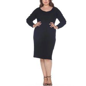 Lane Bryant   Black Lattice Weave Sweater Dress